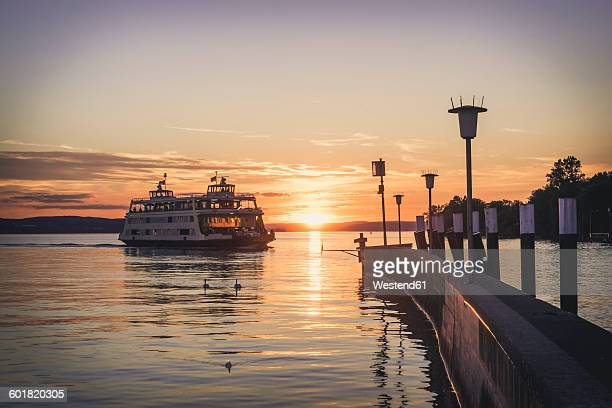 germany, meersburg, ferry between constance and meersburg - bodensee stock-fotos und bilder