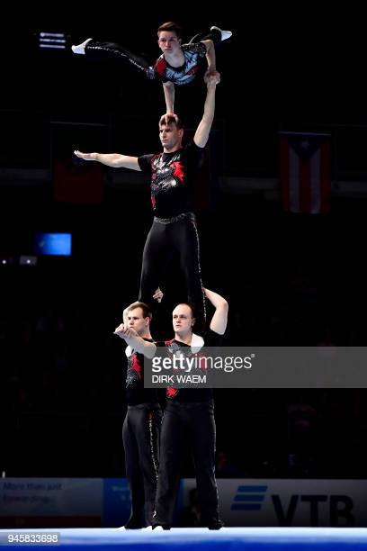 Germany Men's Group Sebastian Grohmann Vincent Kuehne Erik Leppuhner and Tom Maedler perform on the first day of the 26th edition of the World...