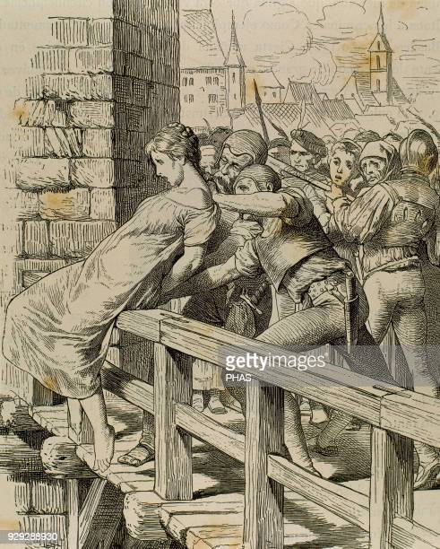 Germany Middle Ages Punishment to a child killer Engraving Germania 1882