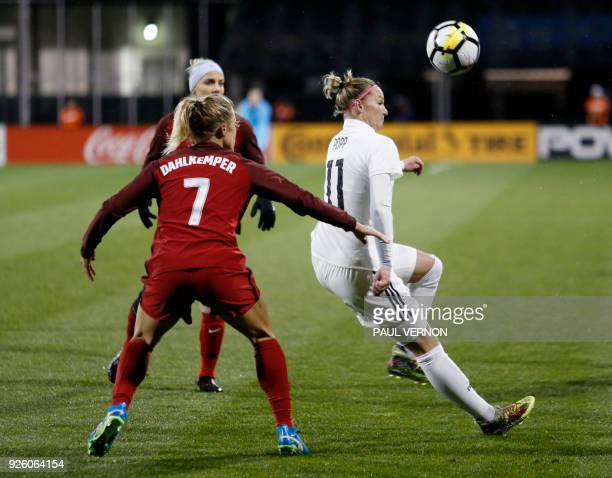 Germany midfielder Alexandra Popp passes the ball against United States defender Abby Dahlkemper during the first half of their SheBelieves Cup match...