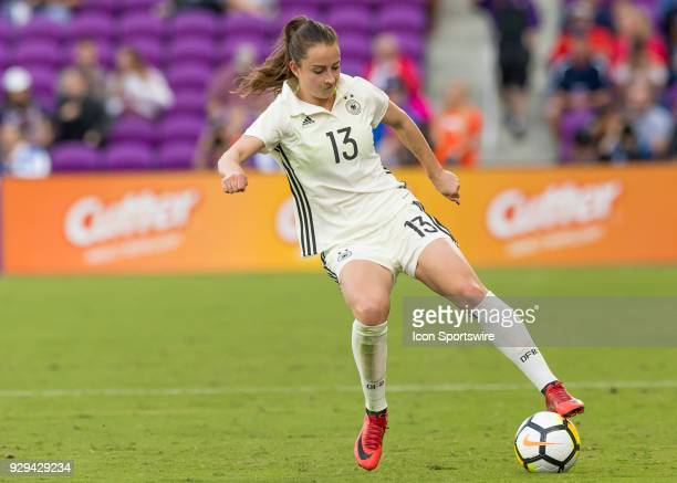 Germany midfielder Sara Däbritz possess the ball during the SheBelieves Cup between Germany and France on March 7th 2017 at Orlando City Stadium in...