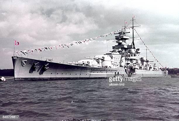 Germany military navy Battleship 'Scharnhorst' in Kiel harbour