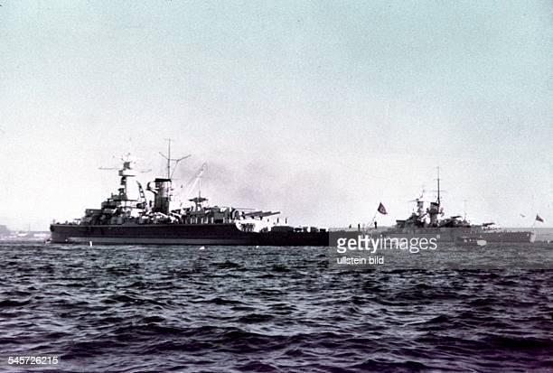 Germany military navy Pocket battleship 'Deutschland' and battleship 'Gneisenau' in the roadstead of Kiel Sommer 1939