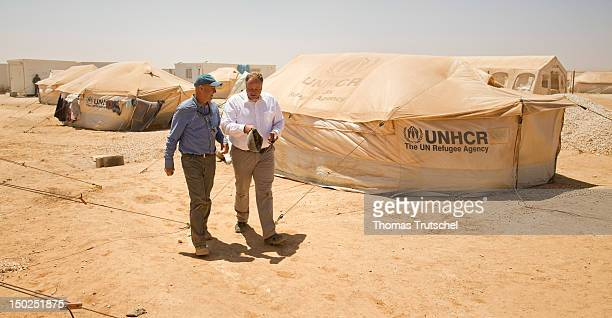 Germany Minister for Development Dirk Niebel and Andrew Harper of UNHCR visit UNHCR camp Zaatari for Syrian refugees outside the northern Jordanian...