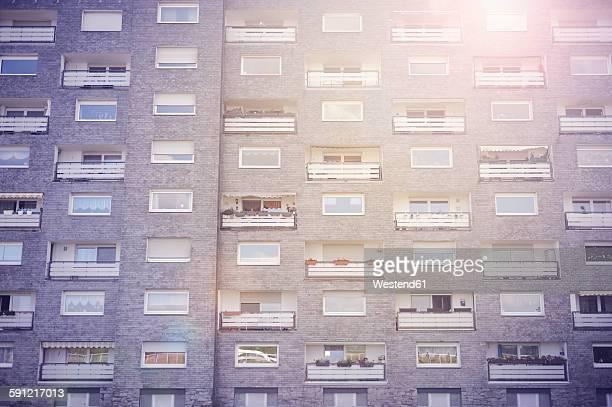 Germany, Monheim, facade of subsidized housing