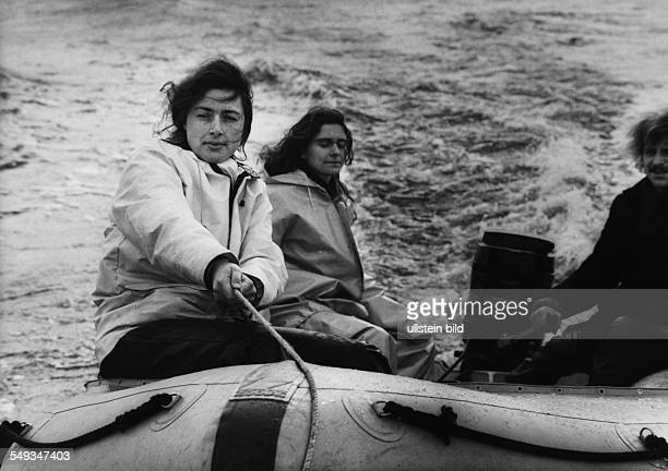 Germany Monika Griefahn former director of Greenpeace in Hamburg in a rubber dinghy