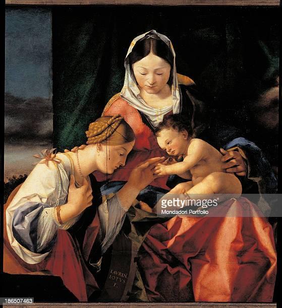 Germany Munchen Bayerische Staatsgemäldesammlungen Alte Pinakothek Detail St Catherine the Virgin Mary and the Child as he put a ring on the finger...