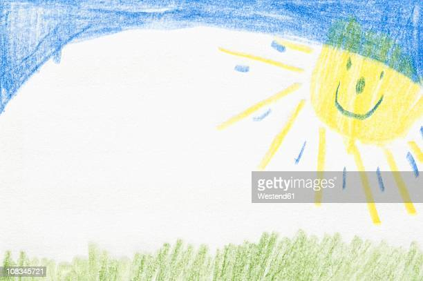 germany, munich, child's drawing of nature in exercise book - kids art stock pictures, royalty-free photos & images