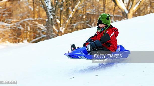 germany, munich, little boy tobogganing - 橇 ストックフォトと画像