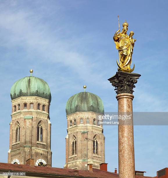 Germany, Munich, Marienplatz, Statue of Maria, low angle view