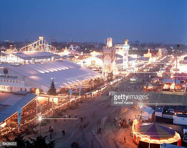 Germany, Munich, Oktoberfest at night, elevated view