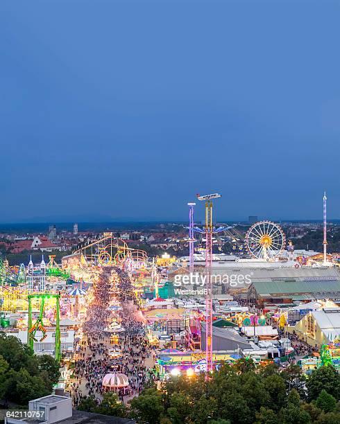Germany, Munich, Oktoberfest overview at twilight