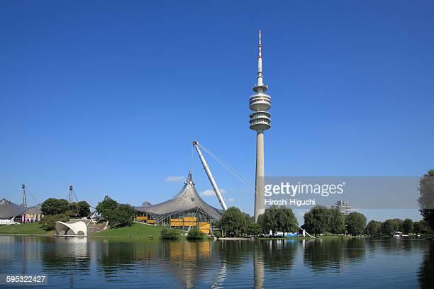 germany, munich, olympic park - olympischer park veranstaltungsort stock-fotos und bilder