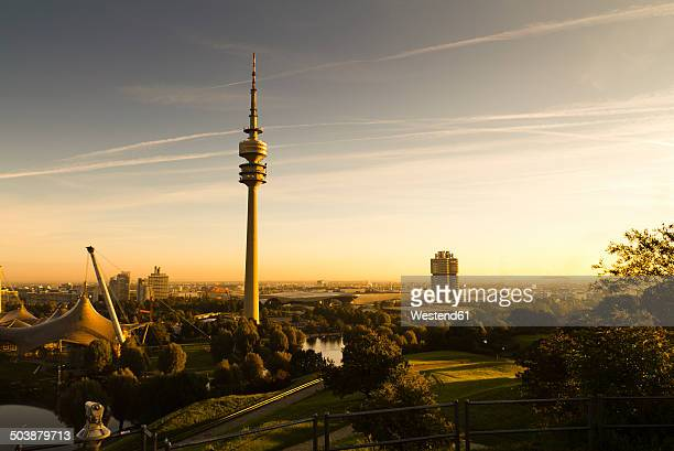 germany, munich, olympic tower in morning light - münchen stock-fotos und bilder