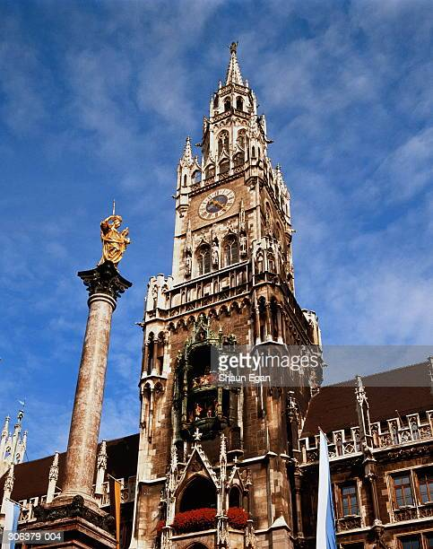 germany, munich, st mary's column and new town hall spire - marienplatz stock pictures, royalty-free photos & images