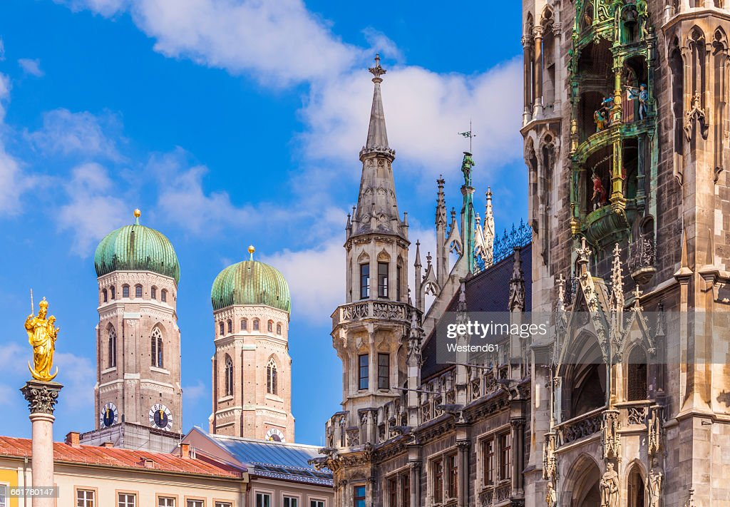 Germany, Munich, view of Marian column, spires of Cathedral of Our Lady and new city hall : Stock Photo