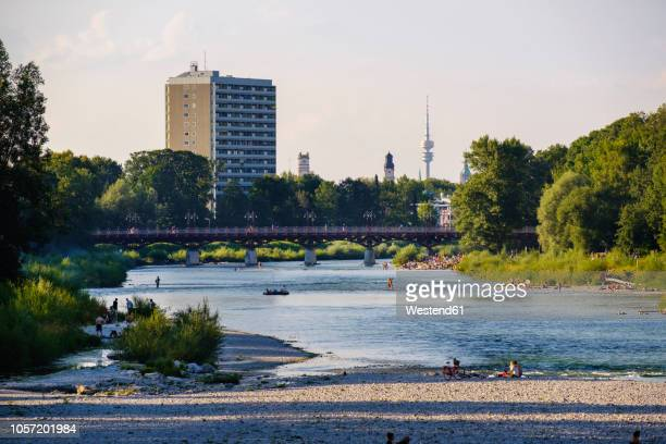 germany, munich, view of the flaucher with tv tower in background - upper bavaria stock photos and pictures