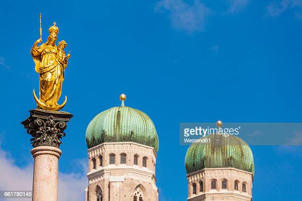 Germany, Munich, view to Marian column and spires of Cathedral of Our Lady