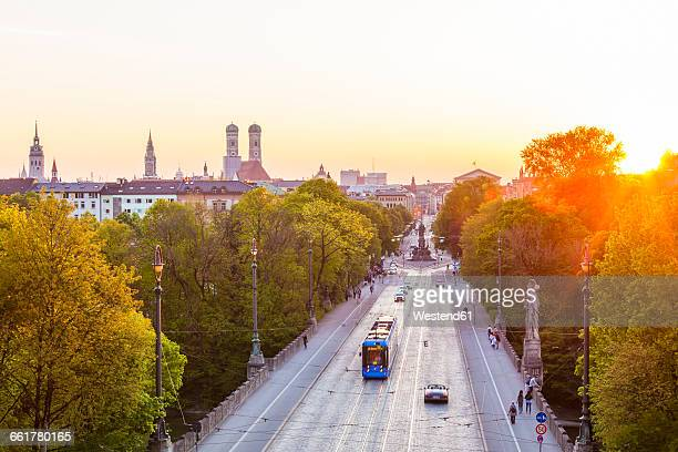 Germany, Munich, view to Maximilianstrasse at twilight