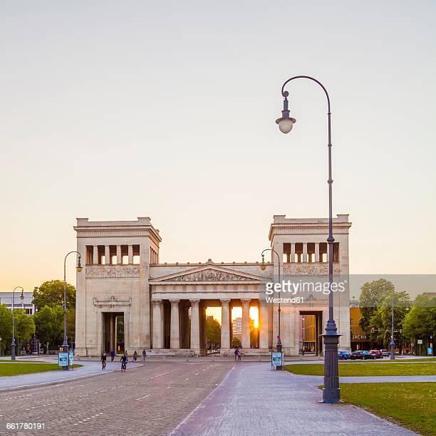 Germany, Munich, view to Propylaea at Koenigsplatz by sunset