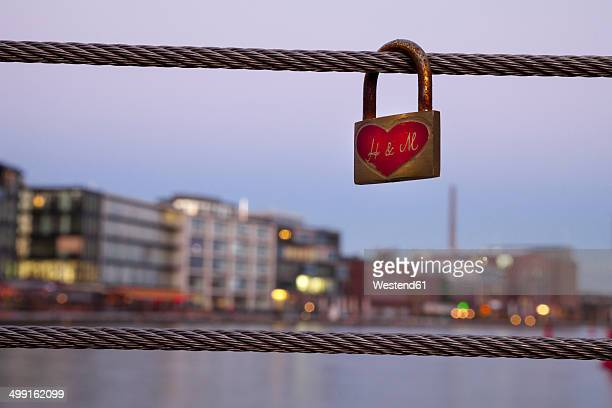 Germany, Munster, love lock at the city harbor