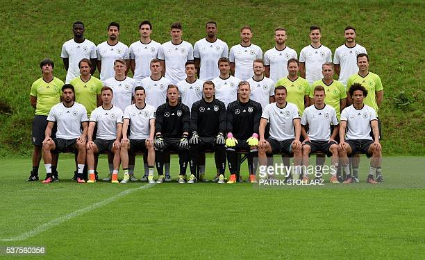 Germany national football team players pose for a team picture prior to a training session as part of the team's preparation for the upcoming Euro...