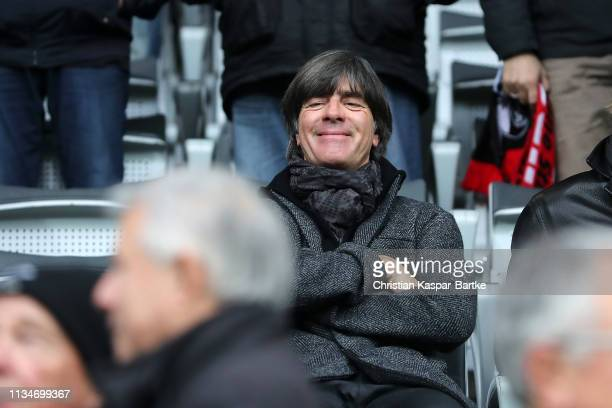 Germany National Team manager Joachim Low looks on prior to the Bundesliga match between SportClub Freiburg and Hertha BSC at SchwarzwaldStadion on...