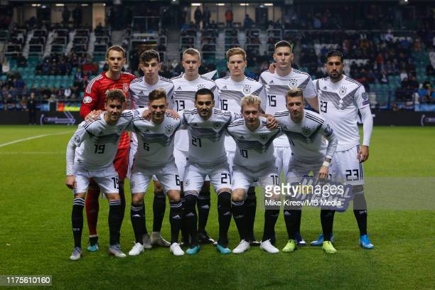 Germany national team players pose for a photo during the UEFA Euro 2020 qualifier between Estonia and Germany on October 13, 2019 in Tallinn,...