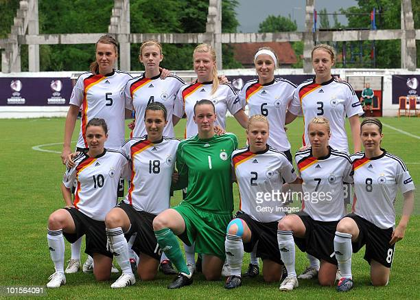 Germany national woman U19 soccer team poses before the UEFA Women's Under19 European Championship semifinal match between Germany and France at...