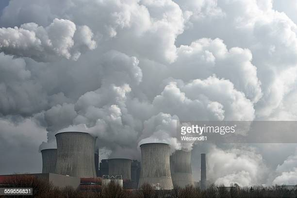 germany, niederaussem, view to coal-fired power station - coal fired power station stock photos and pictures