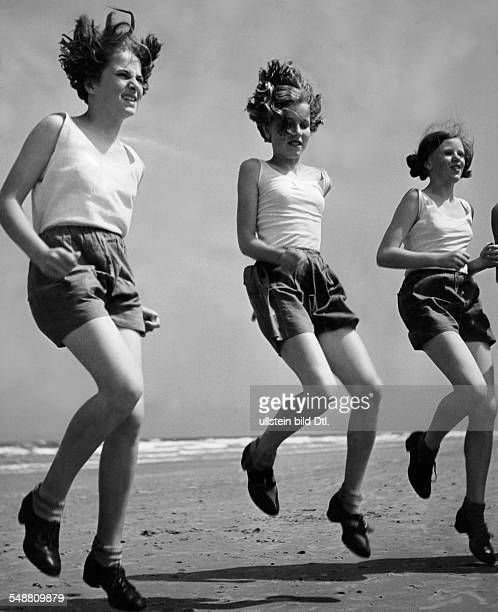 Germany Norderney East Frisian Islands Gymnastics at the beach 1938 Photographer Hedda Walther Published by 'Die Dame' 14/1938 Vintage property of...