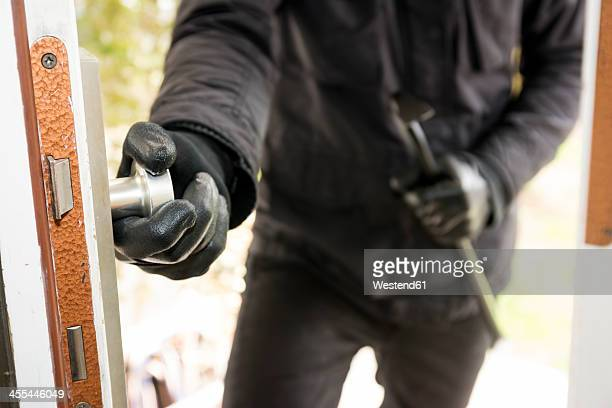 germany, north rhine westphalia, burglary breaking into family home - burglar stock pictures, royalty-free photos & images