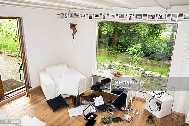 germany, north rhine westphalia, interior of living room after burglary - burglary stock pictures, royalty-free photos & images