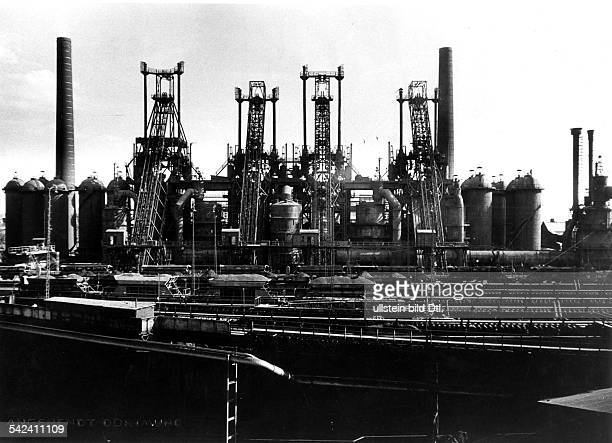 Germany North RhineWestfalia Ruhr Smeltery Oberhausen AG Blast furnace picture taken by Erich Angenendt 1950s