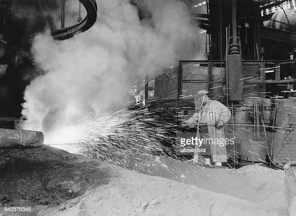 Germany North RhineWestfalia Ruhr Steelworker in a steelworks 1968