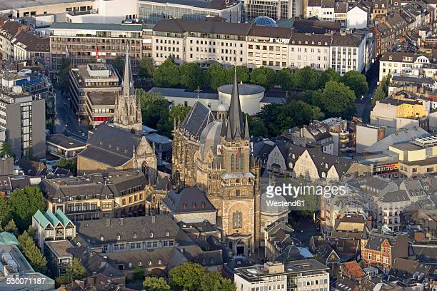 germany, north rhine-westphalia, aachen, aerial view of the city center with aachen cathedral - aachen stock pictures, royalty-free photos & images