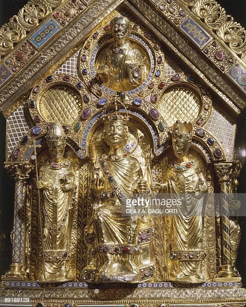 Germany North RhineWestphalia Aachen Palatine Chapel Charlemagne Shrine detail