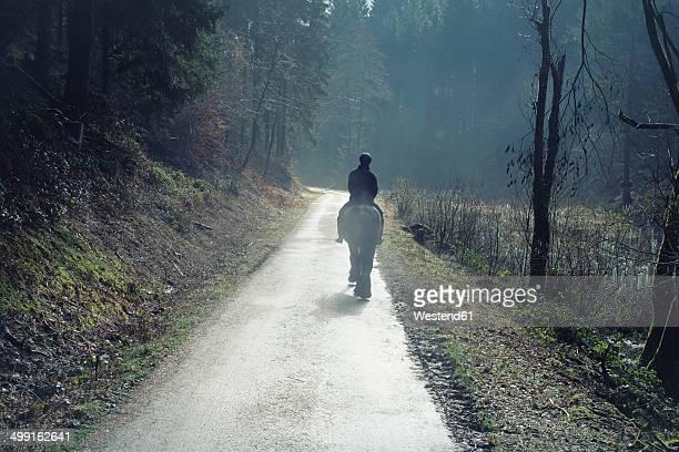 Germany, North Rhine-Westphalia, Bergisches Land, Rhein-Sieg-Kreis, lonely rider on forest track, view from the back