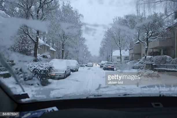 Germany North RhineWestphalia Bonn snowed in street