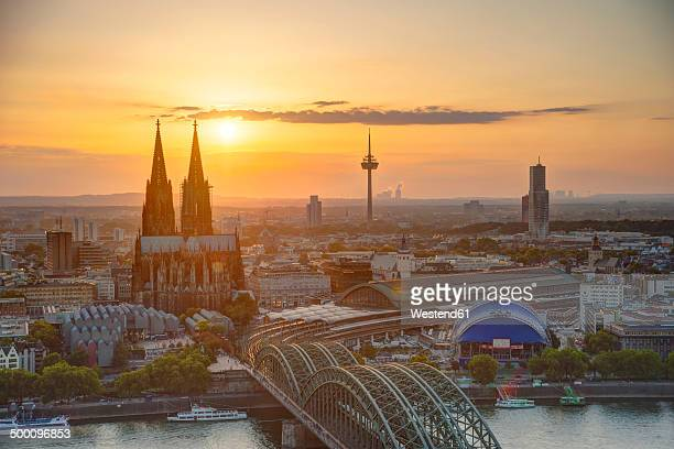 Germany, North Rhine-Westphalia, Cologne, city view with Cologne Cathedral and Colonius at evening twilight