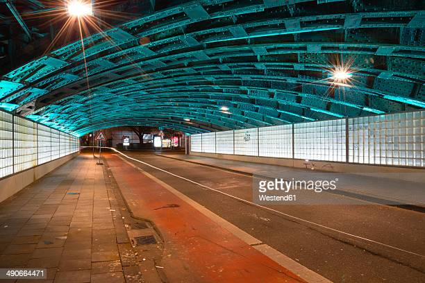 Germany, North Rhine-Westphalia, Cologne, lighted underpass by night