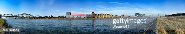 Germany, North Rhine-Westphalia, Cologne, River Rhine, Panoramic view