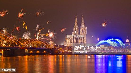 Germany North Rhinewestphalia Cologne Skyline At New Years ...