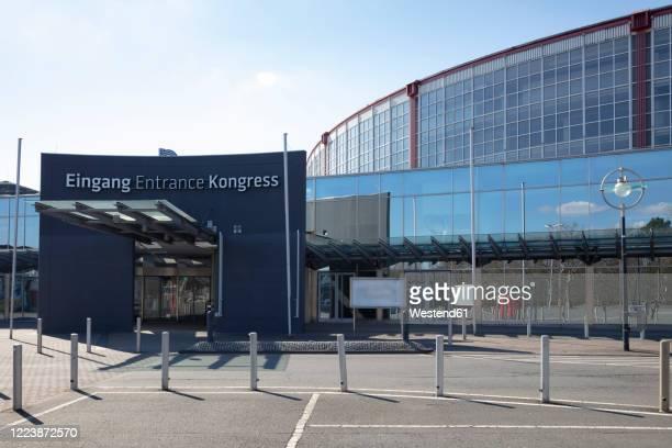 germany, north rhine-westphalia, dortmund, bollards in front ofwestfalenhallen entrance - dortmund city stock pictures, royalty-free photos & images