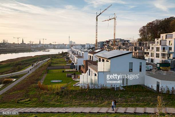 Germany, North Rhine-Westphalia, Dortmund-Hoerde, Phoenix Lake, development area in the evening