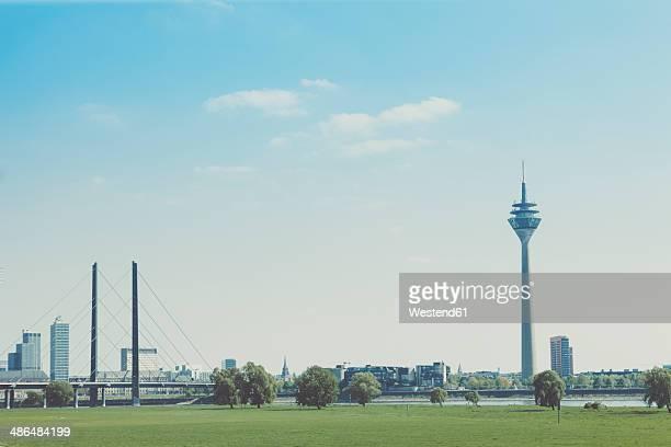 Germany, North Rhine-Westphalia, Duesseldorf, skyline with Rhine Knee Bridge and TV tower