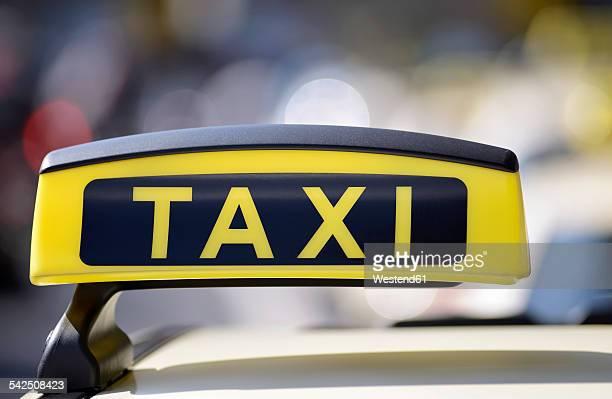 Germany, North Rhine-Westphalia, Duesseldorf, Taxi sign at airport
