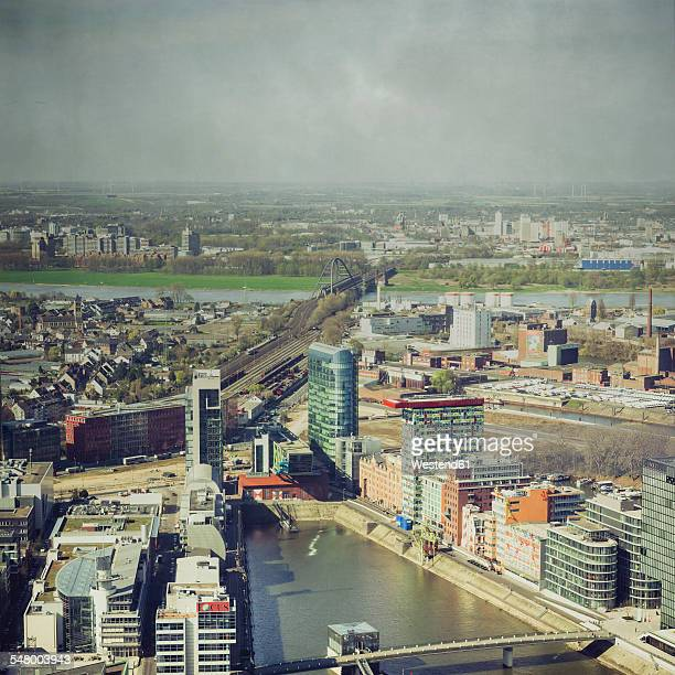 Germany, North Rhine-Westphalia, Duesseldorf, view to Media harbour from above