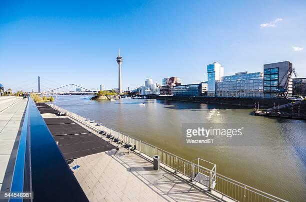 Germany, North Rhine-Westphalia, Duesseldorf, View to Rhine river, Media Harbour and Rhine tower