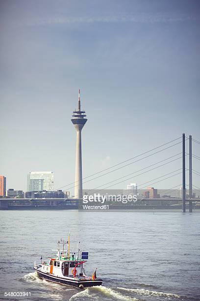 Germany, North Rhine-Westphalia, Duesseldorf, view to Rhine tower, Rhine bridge and Rhine River